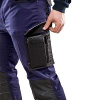 Bolsillo lateral semiflotante con pipeta reflectante con gancho para llaves, bolsillo para móvil con fuelle, bolsillos para bolígrafos.