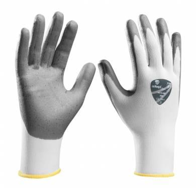 GUANTE DE SEGURIDAD SINTETICO ADEEPI GLOVES: NS15-480GUANTE NITRILO FOAM BLANCO-GRIS. 4.1.2.1 Guante de espuma de nitrilo gris sobre soporte nylon blanco. Avanzada tecnología de recubrimiento espuma sobre tejido permite un mayor estiramiento y flexibilidad en áreas de gran tensión por lo que la mano se mueve con mayor libertad, mayor confort y gran precisión de agarre. Una solución altamente recomendada para operaciones de montaje de precisión y la manipulación general, ofrece el equilibrio perfecto entre confort, destreza y protección. Puño elástico sin costuras para un mejor ajuste a la muñeca. Borde del puño remallado en color para visualización de la talla. Cumple con las exigencias recogidas en las normas europeas EN 420-03 (Exigencias Generales para Guantes de Protección) y EN 388-03 (Guantes contra Riesgos Mecánicos). Tallas: 6, 7, 8, 9, 10