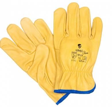 GUANTE DE SEGURIDAD PIEL ADEEPI GLOVES: TFVYGUANTE FLOR PIEL BLANCO/NATURAL. 3.1.4.3 Guante de cinco dedos con palma, confeccionado totalmente con piel-flor vacuno de color amarillo. Incorpora goma elástica en la parte interior en la zona del dorso y lleva en la zona de la muñeca un ribeteado azul. Cuenta además de protección de costuras en los dedos anular, corazón y pulgar e incorpora goma elástica en la parte interior de la zona del dorso. Está cosido mediante costuras internas y externas, utilizando hilo de poliamida. Este Guante Modelo TFVY es un Equipo de Protección (EPI) de categoría II, que cumple con las exigencias esenciales de sanidad y seguridad que se especifican en el Real Decreto 1407/1992, del 20 de Noviembre, en el que se recogen las directrices de la Directiva del Consejo de Europa 89/686/CEE. También cumple con las exigencias recogidas en las normas europeas EN 420-02+A1/09 (Exigencias Generales para Guantes de Protección) y EN 388-03 (Guantes contra Riesgos Mecánicos). Este guante está especialmente indicado para ser utilizado en todo tipo de industrias, donde exista un riesgo mecánico para la palma de las manos. Tallas: 8, 9, 10 Colores: Amarillo