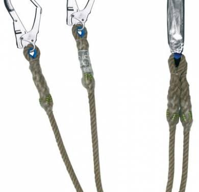 BW200Doble cuerda con absorvedor fabricada en material ignífugo. Especial para trabajos como soldadura, corte de metales, etc. Protegidacontra chispas y proyecciones de metal.Incorpora dos mosquetones de aluminio de abertura 60 mm y peso 480 gr.