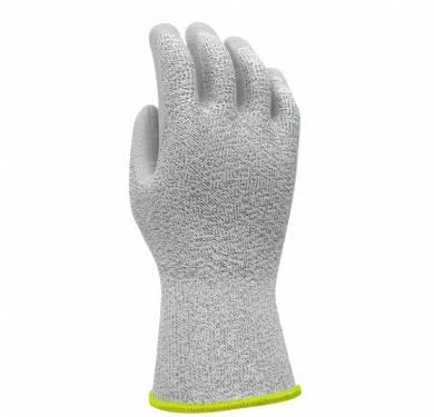 Guantes de protección de corte con recubrimiento de poliuretano PU800Excelente adaptabilidad gracias a su elasticidad Forro tejido sin costuras de polietileno de alta tenacidad / poliéster, galga 13. Recubrimiento de poliuretano gris en la palma. Puntos finos y elásticos, para un magnífico confort. Puño con entramado de látex para garantizar un buen ajuste. Alta flexibilidad y destreza para un confort óptimo durante su uso. Excelente resistencia a la abrasión y al corte. Aplicaciones ideales Manipulación de planchas de vidrio, piezas de bordes afilados. Manipulación de planchas metálicas, corte de piezas secas, pintadas o galvanizadas. Manipulación de objetos de bordes afilados, premontaje, corte de piezas pequeñas secas o ligeramente engrasadas y mantenimiento.
