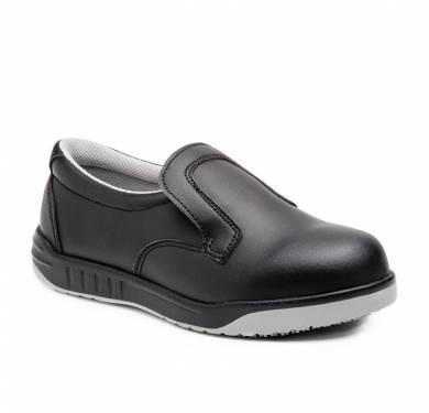 ZAPATO DE SEGURIDAD SKARPPA SARA (O1 SRC)Zapato blanco/negro ligero y flexible inyectado directamente al corte. Pala de microfibra con alta capacidad de absorción de humedad y rápido secado. Plantilla de tejido con tratamiento antibacterias. Suela antideslizante. SRC. Ergonómica, se ajusta perfectamente al pie con extraordinaria comodidad, flexibilidad y estabilidad. Parte superior: Microfibra lavable, suave y flexible. Antimicrobiana. Plantilla interior: Antiestática, antibacterias, antihongos Suela: PU+CAUCHO cementado Ligera y flexible. Gran capacidad de agarre consiguiendo nivel SRC (resistencia al deslizamiento sobre suelo de cerámica y de acero).
