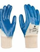 GUANTE DE SEGURIDAD SINTETICO ADEEPI GLOVES: NFLA-300GUANTE NITRILO LIGERO‐ BEIGE/AZUL 4.1.1.1 Guante de cinco dedos destinado a la protección frente a agresiones mecánicas, confeccionado tejido de punto elástico. La palma y los dedos tienen de un recubrimiento de nitrilo de color azul. El nitrilo le proporciona un excelente agarre en seco. Es transpirable, no provoca malos olores y tiene nivel de resistencia alto a la abrasión. Este Guante Modelo NFLA-300 es un Equipo de Protección Individual (EPI) de categoría II, que cumple con las exigencias esenciales de sanidad y seguridad que se especifican en el Real Decreto 1407/1992, del 20 de Noviembre, en el que se recogen las directrices de la Directiva del Consejo de Europa 89/686/CEE. También cumple con las exigencias recogidas en las normas europeas EN 420-2003 (Exigencias Generales para Guantes de Protección) y EN 388-2003 (Guantes contra Riesgos Mecánicos). Este guante está especialmente indicado para ser utilizado en todo tipo de industrias, donde exista un riesgo mecánico para la palma de las manos. Tallas: 7, 8, 9, 10 Colores: Base: Beige Recubrimiento: Azul