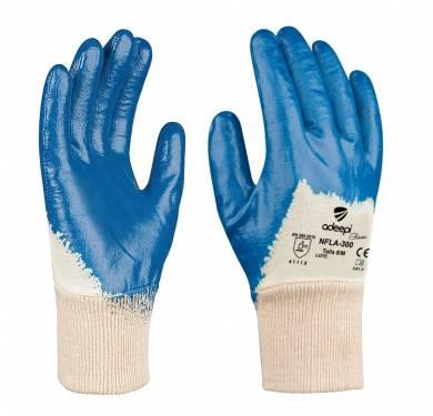 GUANTE DE SEGURIDAD SINTETICO ADEEPI GLOVES: NFLA-300El GUANTE Referencia. NFLA-300 es un guante destinado a la protección frente a agresiones mecánicas, mecánicas, confeccionado tejido interlock. La palma y los dedos tienen de un recubrimiento de nitrilo de color azul. El nitrilo le proporciona un excelente agarre en seco. Es transpirable, no provoca malos olores y tiene nivel de resistencia alto a la abrasión. Este Guante Mod. NFLA-300 es un Equipo de Protección Individual (EPI), que cumple con las exigencias esenciales de sanidad y seguridad que se especifican en el Reglamento (UE) 2016/425, según las normas EN 420:2003+A1:2009 (Guantes de protección. Requisitos generales y métodos de ensayo) y EN 388:2016 (Guantes de protección contra Riesgos Mecánicos), como EPI de categoría II. Este guante está especialmente indicado para ser utilizado en todo tipo de industrias, donde exista un riesgo mecánico para la palma de las manos. El nivel de protección de este guante es: 4.1.1.1.X El nivel de dexteridad: 5 Tallas: 6, 7, 8, 9, 10, 11 Colores: Base: Beige Recubrimiento: Azul