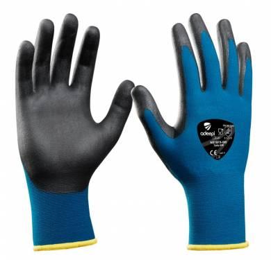 GUANTE DE SEGURIDAD SINTETICO ADEEPI GLOVES: T-TOUCH FLEX NS18FX-580GUANTE NYLON+SPANDEX / T-TOUCH FLEX Guante de uso alimentario para manipulación de alimentos que no estén cortados ni pelados. Guante de base Galga 18 nylon+spandex de color turquesa. Muy fino y adaptable a la mano. La palma y los dedos están recubiertos mediante la nueva tecnología T-Touch Flex foam de color negro libre de DMF, consistente en: -Una primera capa de nitrilo sobre la base de nylon que permite la impermeabilidad a los aceites. -Una segunda capa de PU foam sobre el nitrilo que permite el agarre preciso y cómodo. Guante de dorso fresco. Muy transpirable. Ligero, suave, cómodo y flexible. Comfort total para reducir la fatiga de las manos. Destreza única debido a su gran adaptabilidad y finura. Larga vida útil. Gran resistencia a la abrasión. Nivel de agarre (gripping) excelente. Recubrimiento transpirable y resistencia al aceite. Puño elástico sin costuras para un mejor ajuste a la muñeca. Borde del puño remallado en color para visualización de la talla. Es un Equipo de Protección Individual (EPI), que cumple con las exigencias esenciales de sanidad y seguridad que se especifican en el Reglamento (UE) 2016/425, según las normas EN 420:2003+A1:2009 (Guantes de protección. Requisitos generales y métodos de ensayo) y EN 388:2016 (Guantes de protección contra Riesgos Mecánicos), como EPI de categoría II. Tallas: 6, 7, 8, 9, 10 Color: Turquesa/negro