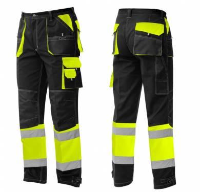 PANTALÓN DE PROTECCIÓN FORTE ALTA VISIBILIDAD ADEEPI-CLASE 1. PFAV-1200· Pantalón multibolsillos en colores amarillo/negro o naranja/negro· Refuerzos en rodillas y bolsillos· Goma elástica en la cintura· Bajos ajustables· Cinco amplios bolsillos y un bolsillo para herramientas· Dos bandas reflectantes en perneras NORMATIVA: COMPOSICION: TALLAS XS a 4XL REF. PFAV-1200 (amarillo/negro) PFAV-1200-NA (naranja/negro)