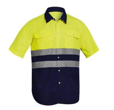 CAMISA MANGA CORTA ALTA VISIBILIDAD COMBINADA ADEEPI-CLASE 1. REF. CCAVB-1080· Camisa bicolor manga corta· Color de contraste en parte inferior de la prenda y cuello· Dos bandas reflectantes en tórax· Dos bolsillos plastón en pecho con tapeta y botón· Cierre frontal con botones NORMATIVA: COMPOSICION: TALLAS S a 3XL · 36 a 54 REF. CCAVB-1080 (amarillo/contraste) CCAVB-1080-NA (naranja/contraste)