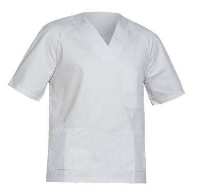 CHAQUETA SANITARIA ADEEPI. REF. 277-TER-19Chaqueta sanitaria Un bolsillo de plastón en el pecho y dos bajos Cuello en forma de V Abertura lateral en los bajos Manga ranglan