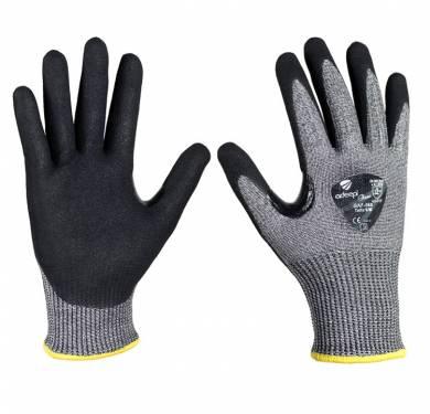 """GUANTE DE SEGURIDAD ANTICORTE ADEEPI GLOVES: GAF-560GUANTE CORTE F, T-TOUCH, Reforzado. El guante """"GAF-560"""" es un guante destinado a la protección frente a agresiones mecánicas, confeccionado con trenzado de hilo de acero más fibra de polietileno de alto rendimiento (HPPE), recubiertos con hilo de punto de nylon. La palma y uñeros están recubiertos mediante la nueva tecnología T-Touch <sup>TM</sup> . Tecnología multicapa exclusiva que combina nitrilo FOAM con PU prelavado. Refuerzo extra entre pulgar e índice. Características: Ideal para tareas anticorte que requieran gran protección, así como precisión y agarre. El guante referencia """"GAF-560"""" es un Equipo de Protección Individual (EPI), que cumple con las exigencias esenciales de sanidad y seguridad que se especifican en el Reglamento (UE) 2016/425, según las normas EN ISO 21420:2020 (Guantes de protección. Requisitos generales y métodos de ensayo) y EN 388:2016 + A1:2018 (Guantes de protección contra Riesgos Mecánicos), como EPI de categoría II. Tallas: 6, 7, 8, 9, 10, 11"""