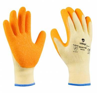 GUANTE DE SEGURIDAD POLYCOTTON/LATEX ADEEPI GLOVES: GALN-700GUANTE DE PROTECCIÓN DE POLYCOTTON/LÁTEX ADEEPI Puño elástico sin costuras para un mejor ajuste a la muñeca. Acabado rugoso en la palma para asegurar un buen agarre en seco y en mojado. Dorso ventilado para optimizar el confort. Buena resistencia al desgarre y a la perforación. Es un Equipo de Protección Individual (EPI), que cumple con las exigencias esenciales de sanidad y seguridad que se especifican en el Reglamento (UE) 2016/425, según las normas EN 420:2003+A1:2009 (Guantes de protección. Requisitos generales y métodos de ensayo) y EN 388:2016 (Guantes de protección contra Riesgos Mecánicos), como EPI de categoría II. Tallas: 6, 7, 8, 9, 10 PALMA: naranjaDORSO: amarilloPUÑO: amarillo USOS: ideal para la manipulación e inspección de productos y para trabajos de mantenimiento en general.